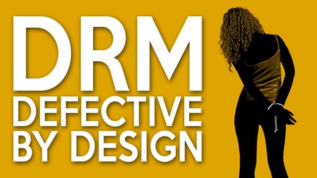 Plakat DRM Defective by Design mit einer durch Kopfhörer gefesselten Frau