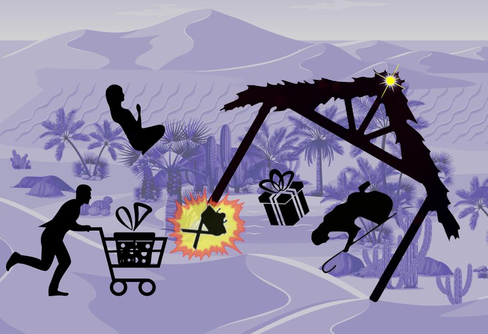 Shopper mit Einkaufswagen voller Geschenke rast in Krippenszene
